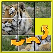 孩子们动物的滑动拼图-神秘 15 方块形状重新排列马赛克游戏