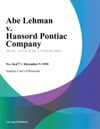 Abe Lehman V Hansord Pontiac Company