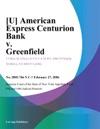 U American Express Centurion Bank V Greenfield