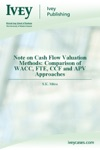 Note On Cash Flow Valuation Methods Comparison Of WACC FTE CCF And APV Approaches
