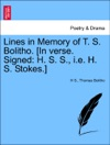 Lines In Memory Of T S Bolitho In Verse Signed H S S Ie H S Stokes