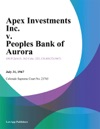 Apex Investments Inc V Peoples Bank Of Aurora