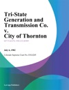 Tri-State Generation And Transmission Co V City Of Thornton