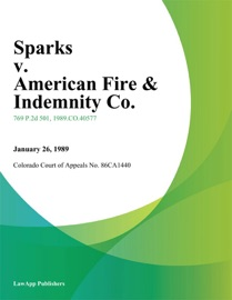 SPARKS V. AMERICAN FIRE & INDEMNITY CO.