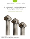 The Ethical Basis For Taxation In The Thought Of Thomas Aquinas Critical Essay