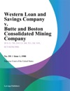 Western Loan And Savings Company V Butte And Boston Consolidated Mining Company