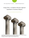 Energy Policy An Optimal Allocation Approach Quantitative Economics Report
