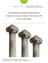 Communication And Miscommunication In Corporate America Evidence From Fortune 200 Firms Case Study