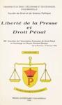 Libert De La Presse Et Droit Pnal