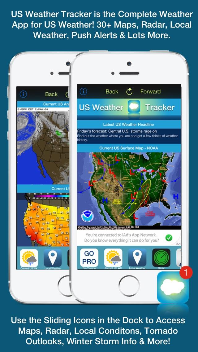 Screenshot #1 for US Weather Tracker Free - Weather Maps, Radar, Severe & Tornado Outlook & NOAA Forecast
