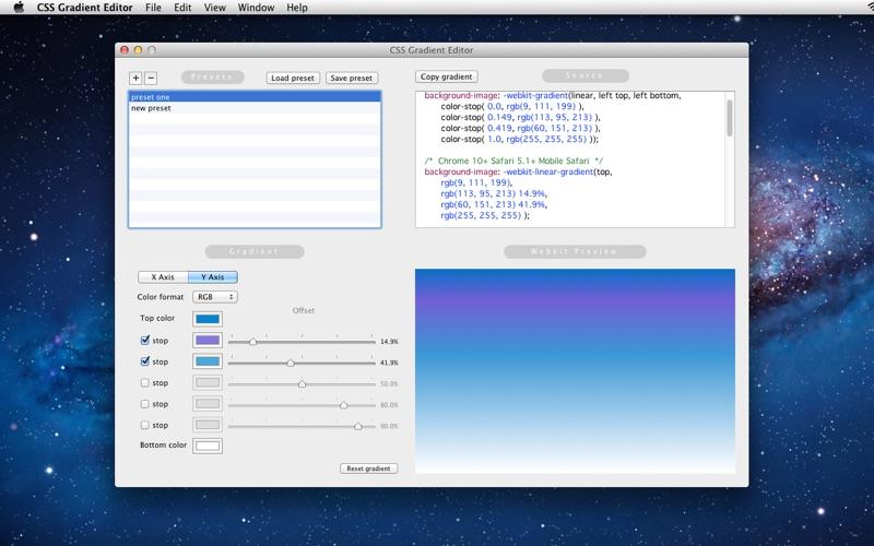 Css gradient editor en el mac app store captura de pantalla malvernweather Images