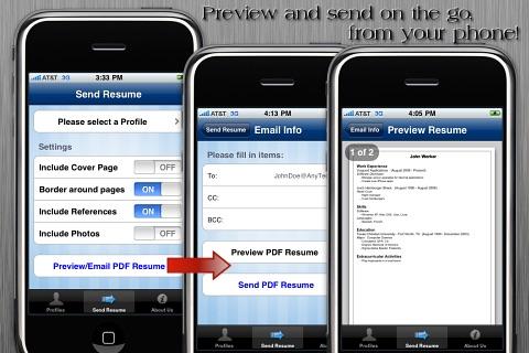 Screenshot of Resume App