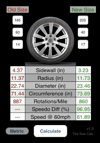 Tire Calculator screenshot 1