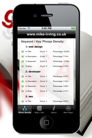 Keyword Density seo analysis screenshot 4
