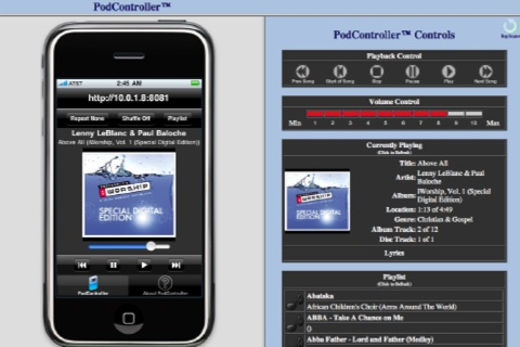 Music Remote™ (Remotely control the iPod player in your iPhone, iPod touch and iPad) screenshot 1