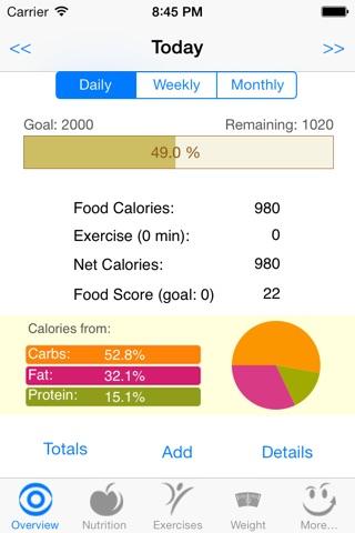 CalorieSmart Calorie Counter, Nutrition Tracker, Diet and Fitness Tracker screenshot 1