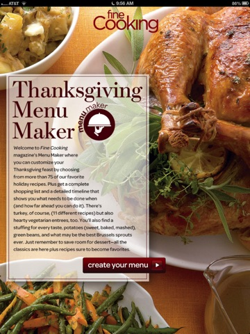 Thanksgiving Menu Maker from Fine Cooking screenshot 1