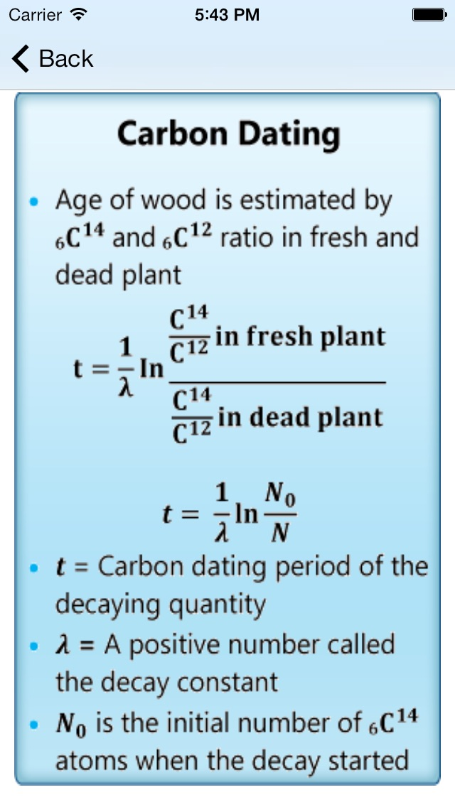Carbon dating formula algebra