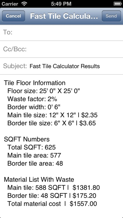 Fast Tile Calculator With In App Email