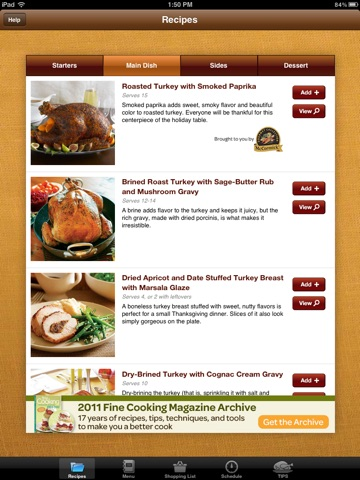 Thanksgiving Menu Maker from Fine Cooking screenshot 2