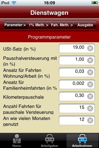 Screenshot von Rechner Dienstwagen4