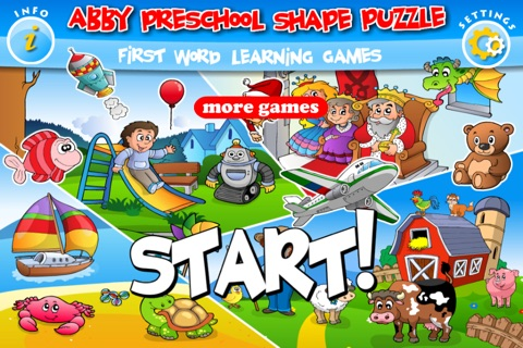 Abby - Preschool Shape Puzzle - First Word (Farm Animals, Toys, Transport, Pets, Princess, Fairy Tales...) screenshot 1