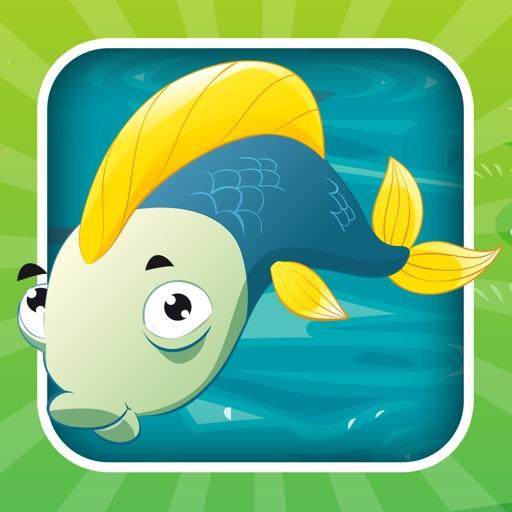 對於2-5歲的幼兒對遊戲釣魚:遊戲,拼圖和謎語的幼兒園,學前班或幼兒園。 學習 與海,水,魚,漁民和漁桿.