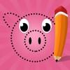 用數字漆兒童: 著色書, 與動物連接點,遊戲和練習,熊,狗,馬,豬,兔子和老鼠。遊戲和益智學習,油漆, 算