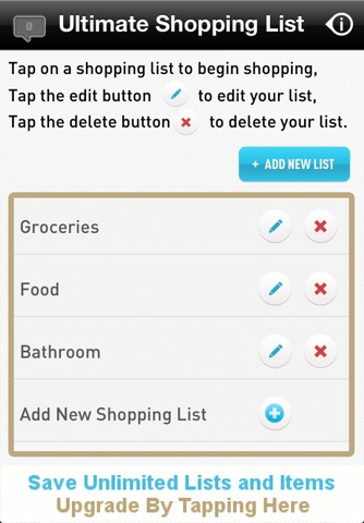 Ultimate Shopping List Lite screenshot 1