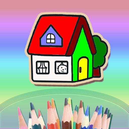 儿童画画游戏大全 - 幼儿房屋涂色启蒙教育
