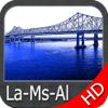 Louisiana Mississippi Alabama HD GPS Map Navigator