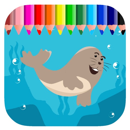 Coloring Book Game Sea Lion For Children iOS App