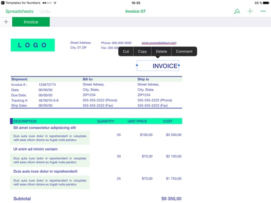 templates for numbers on the app store, Invoice templates