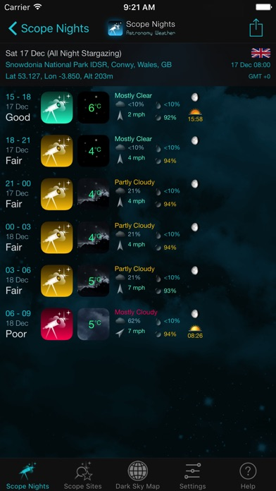 Scope Nights Astronomy Weather Dark Sky Map On The App Store - Us dark skys map