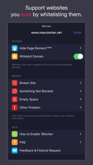 1Blocker Screenshot
