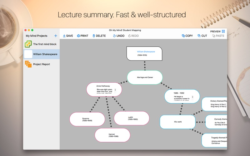 Oh My Mind Student Mapping Screenshot - 2
