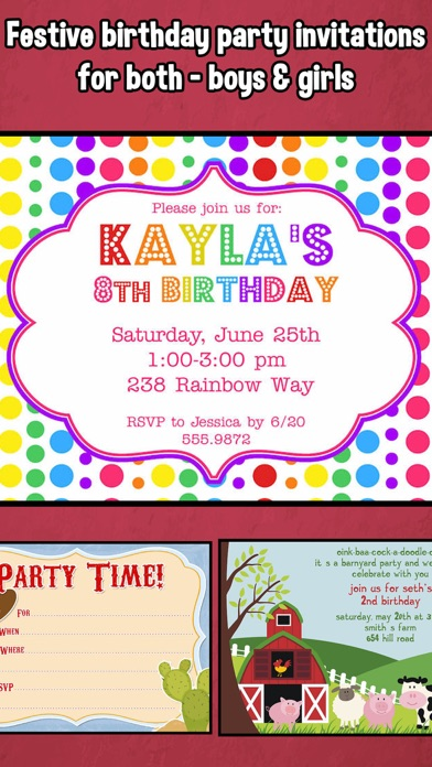 Happy Birthday Invitations For Kids Party App Download