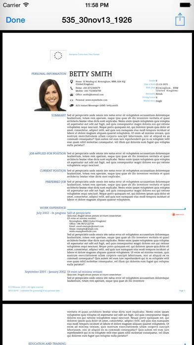 iCV Resume Screenshots