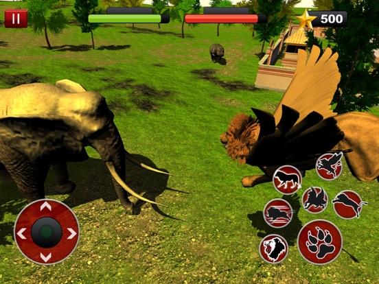 Игра Летающий лев Симулятор: Злой дикий бой животных