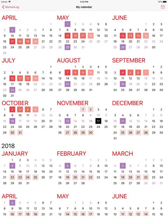 Year Calendar Sia : Womanlog calendar by pro active app sia