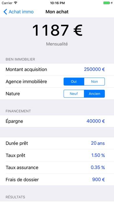 Screenshot Achat immo, calcul de crédit