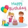 生日快樂 - 相框,生日賀卡和生日蛋糕