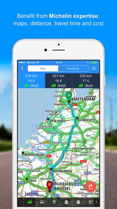iPhone Screenshot 1. ViaMichelin GPS  Route Planner on the App Store