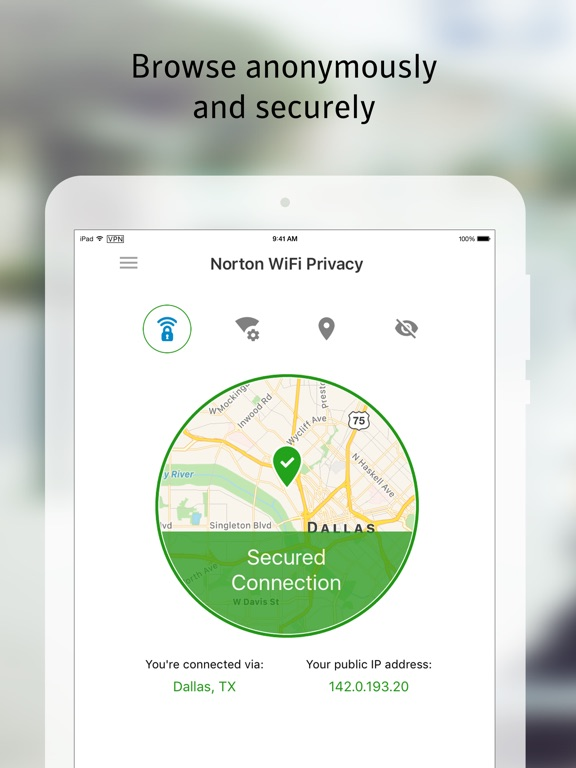 Norton WiFi Privacy VPN iPad