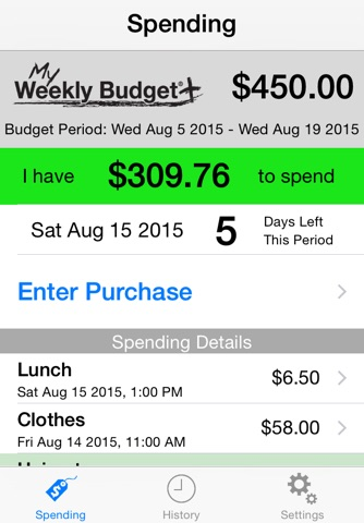 My Weekly Budget+ (MyWB+) screenshot 1