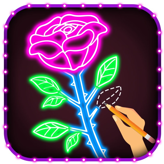 Flower Drawing App: How To Draw Glow Flower Step By Step For Beginners On The