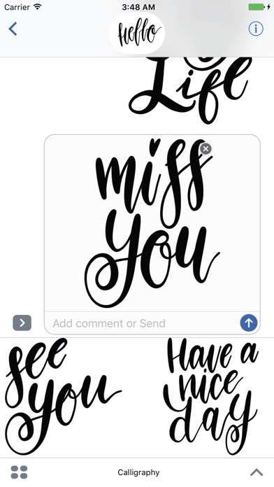 Hello Calligraphy! Stickers for iMessageСкриншоты 3