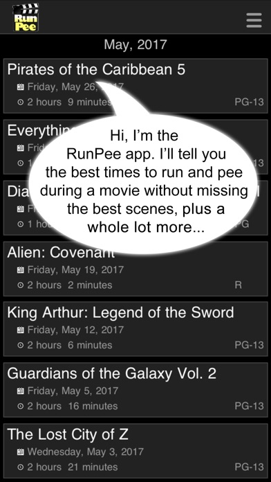 RunPee: because theaters don't have pause buttons. Screenshot