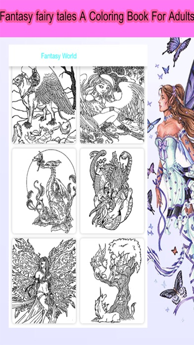 iphone screenshot 1 - Fantasy Coloring Books For Adults