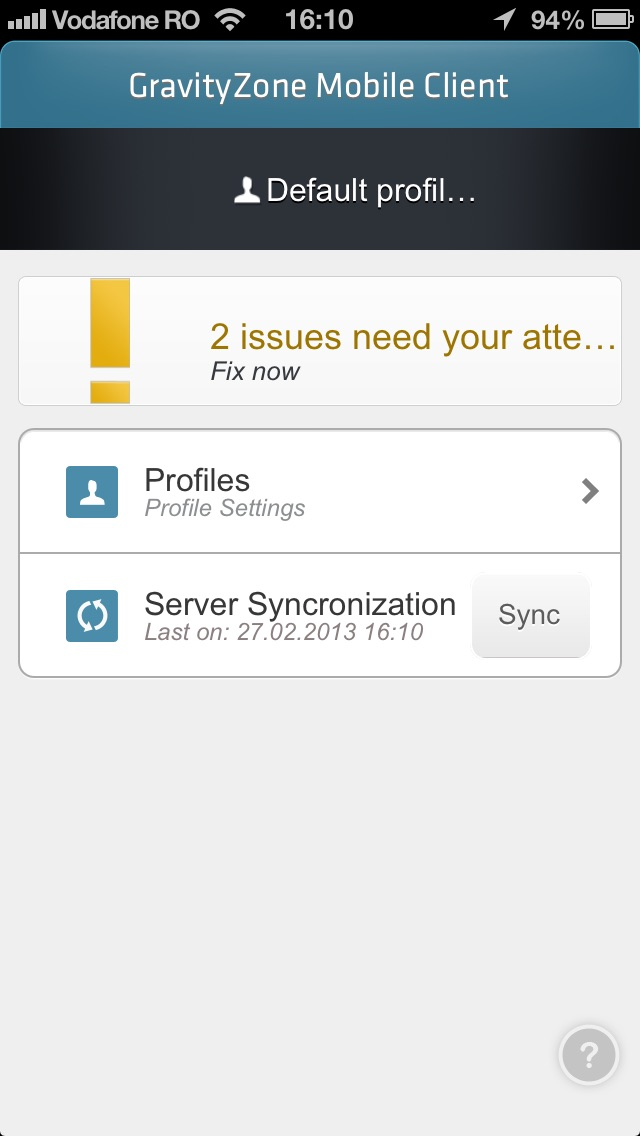 Screenshot von GravityZone Mobile Client2
